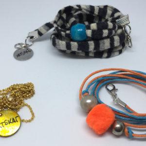 collar-mask ArtSkat PACK tres textil rayas naranja azul pompón naranja