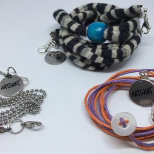 collar-mask ArtSkat PACK tres textil con naranja-violeta botón